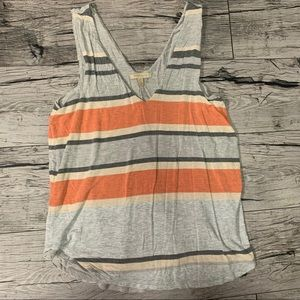 Anthropologie Orange and Gray Stripe Tank Top